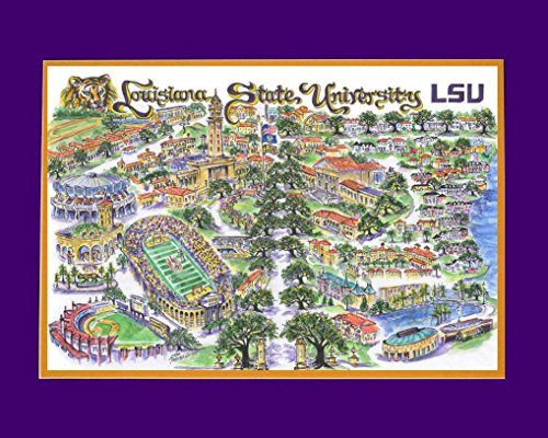 Artwork, Louisiana State University, Louisiana State University Limited Edition Signed and Numbered of Only 7,500 Prints. Depicting the Campus and It's Landmarks and Traditions. With the Double Mat Fits a Standard 16