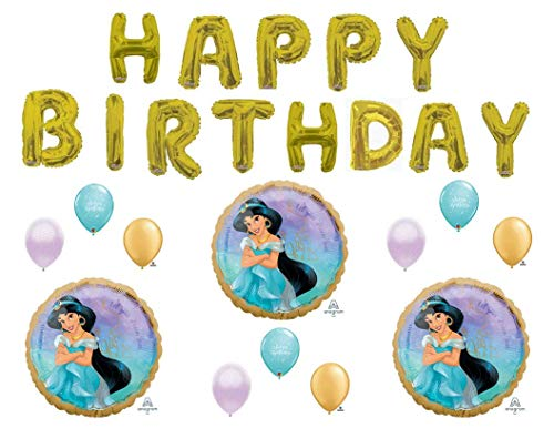 Princess Jasmine Happy Birthday Letters Party Balloons Decoration