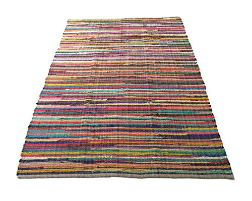 Recycled Rag Rugs - Eco friendly 100% recycled cotton colorful Chindi Area Rug - 5'x7'