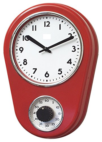 Retro Kitchen Timer Wall Clock, Red. By Lily's Home
