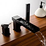 black 3 hole faucet - Lovedima Contemporary Black 3-Hole Waterfall Roman Tub Filler Faucet with Handshower Deck Mounted