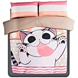 LELVA Japanese Anime Cartoon Kids Bedding Set Cute Cheese Cat Thicken Brushed Duvet Cover Fashion Teenager Fillet Bed Sheets Twin Size 100% Cotton (Queen)