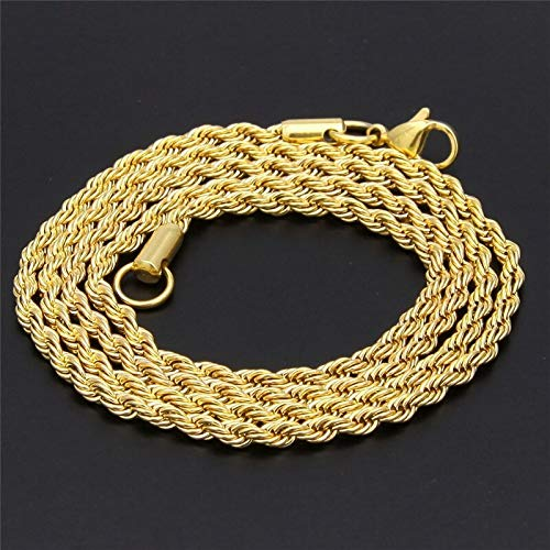 (Stainless Steel Gold Color Rope Link Necklace | Men Women Hip Hop Rapper's Chain | 3mm 18'' 20
