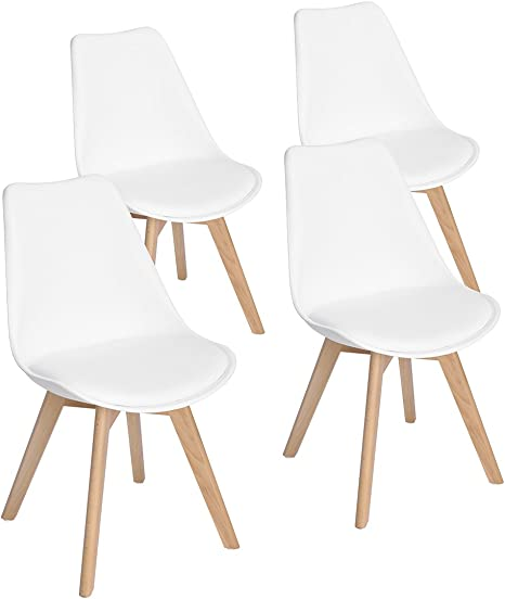 Sedie da Cucina con Seduta in Polipropilene e Gambe in Legno Massello di Faggio,Nero EGGREE Set di 4 Sedie da Pranzo Moderne
