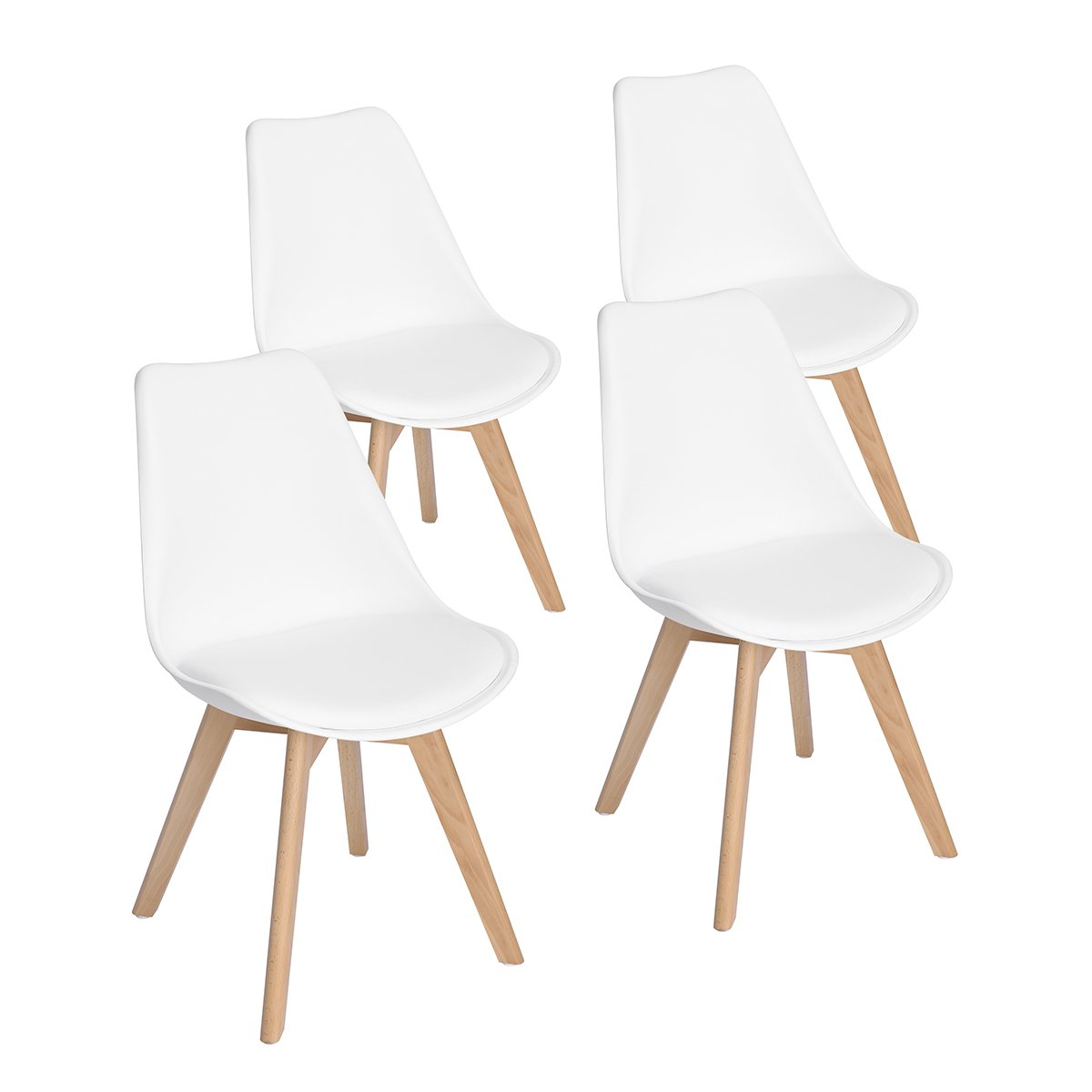 EGGREE Set of 2 Tulip Dining/Office Chair Solid Wood Beech Legs, (TM) Armless Padded Design Chairs Extra Comfort - Black EGGREE-TP-10