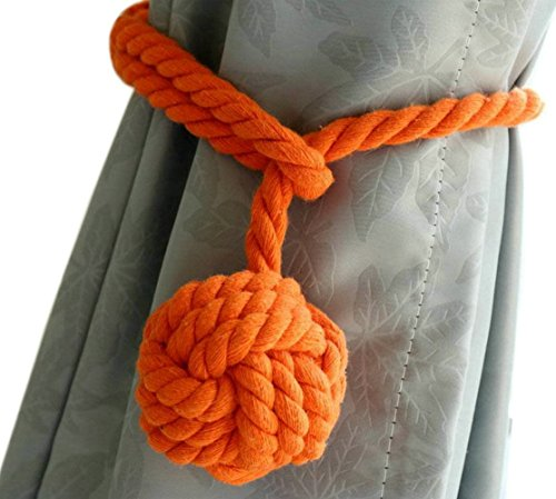 EleCharm 1Pair American Hand Knitting Curtain Rope Rural Cotton Rope Tie Band (Orange) - Exclusive Cotton Satin