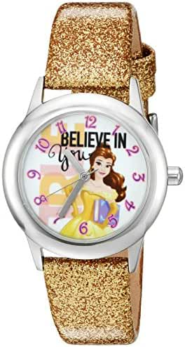 Disney Girl's 'Beauty and Beast' Quartz Stainless Steel and Leather Watch, Color:Gold-Toned (Model: W002921)