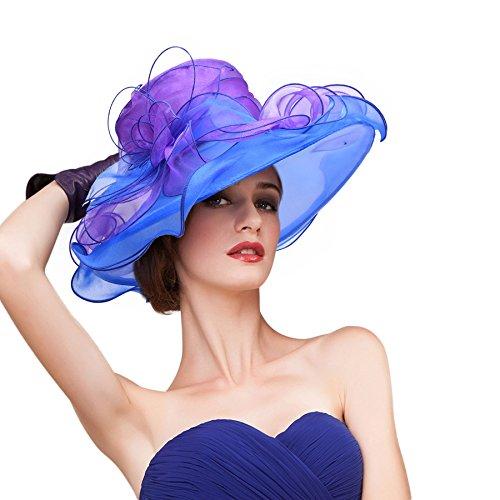 Cappello Sole Di Del Ampio Mix Blu Colori Di Bordo Organza Lawliet Mix A442 Donne Derby Del Viola Kentucky PCRqwYn8