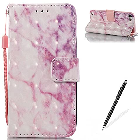 iPod Touch 5/6 Wallet Case,MAGQI Flip PU Leather Book Stand Unique Marble Stone Grain Painting Cover With Card Slots Scratch Resistant Non-Slip Cover Protective Shell - (Sparkly Girls Ipod 4 Cases)