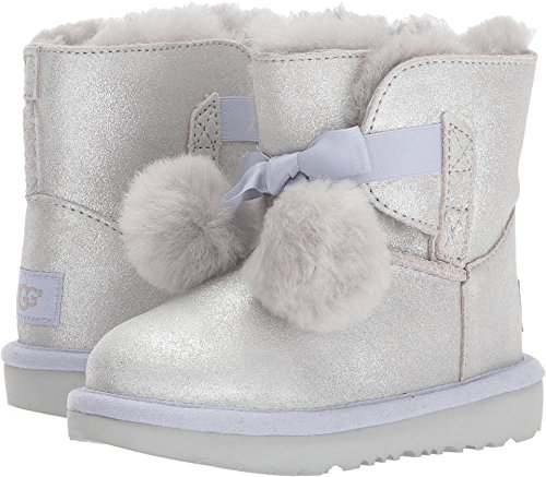 UGG Girls T Gita Metallic Pull-on Boot, Silver,
