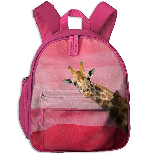 Dream-R School Backpack Layer Giraffe Min Children Printed Oxford Fabric Backpack With Front Pockets Pink - Costume Definition Oxford