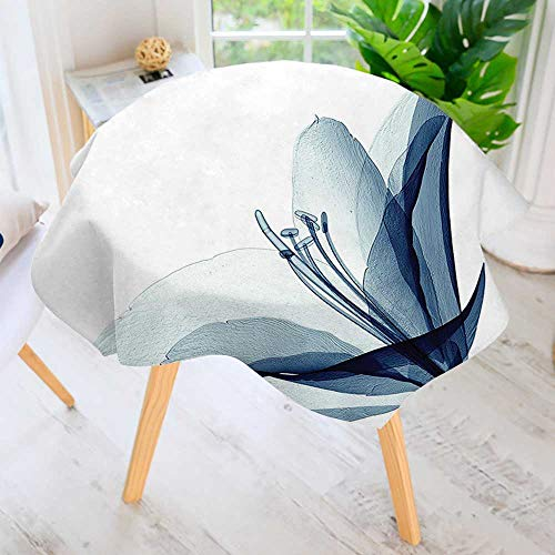 """UHOO2018 100% Polyester Printed Table Cloth-Decor Collection X ray Inspired Transparent Image of Amaryllis Flower Nature Decorating Artwork Ideal for Home, Restaurants, Cafés 63"""" Round"""