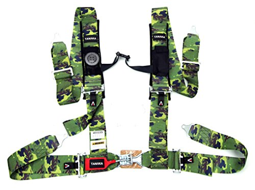 Tanaka Latch and Link 4-Point Safety Harness Set with Ultra Comfort Heavy Duty Shoulder Pads and Utility Pockets (for one seat) - Safety 4 Harness Point