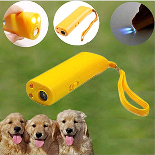 Pet Dog Repeller Anti Barking Stop Bark Training Device Trainer LED Ultrasonic 3 in 1 Anti Barking Ultrasonic Without Battery ()