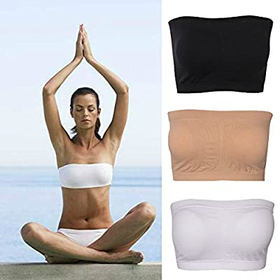 DD DEMOISELLE Plus Size Padded Tube Top Bra Strapless Bandeau Stretch Seamless Tube Top Bra for Women/Girls