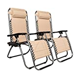 Matladin Zero Gravity Chairs with Cup Holder Set of 2, Folding Lounge Chair Outdoor for Pool, Lawn, Beach, Reclining Patio Chairs (Khaki)