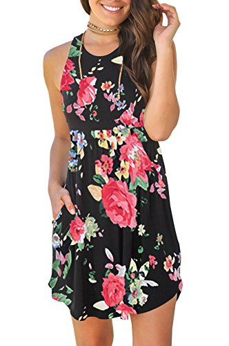Gemijack Womens Summer Sleeveless Mini Dresses Casual Racerback Short Tank Dress with Pockets