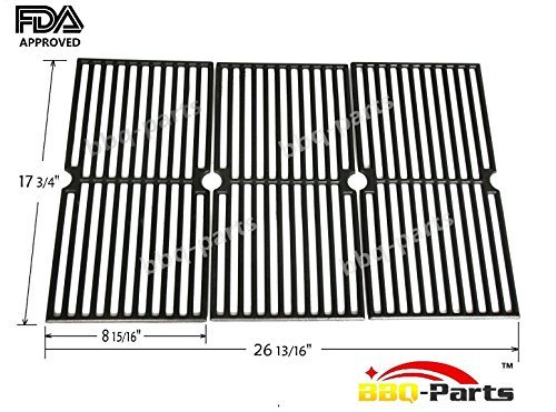 Hongso PCD103 Universal Gas Grill Grate Cast Iron Cooking Grid Replacement for Brinkmann 810-7490-F, 810-8410-S, 8107490F, 8108410S, 8107490-F, 8108410-S, Charmglow 810-8410-F, Sold as a set of 3