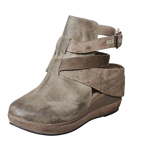- Antelope Women's 459 Grey Calf Hair Leather Hi Front Buckle Wrap Mule 39