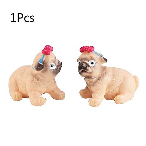 YFairy - Adorno de perro carlino en miniatura, adorno de perro carlino, hada, jardín, casa, paisaje, bricolaje, decoración, regalo