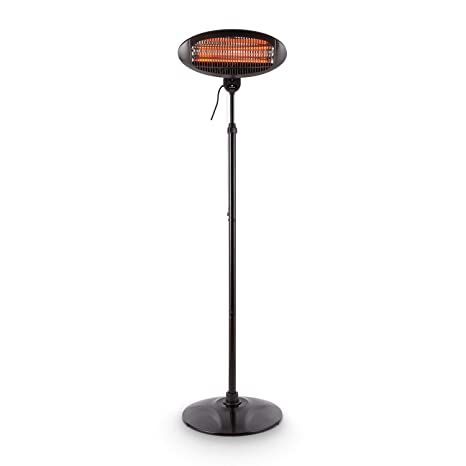 Blumfeldt Shiny Hot Roddy Estufa de terraza - Calefactor de pie Infrarrojo , Radiador de Calor para Patio , 2000 W MAX , 3 Tubos calefactores en ...