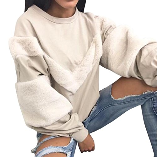 Cashmere Puff Sleeve Top (Remiel Store Women's Patchwork Cashmere O-Neck Lantern Sleeve Casual Pullovers Tops (XL, Gray))