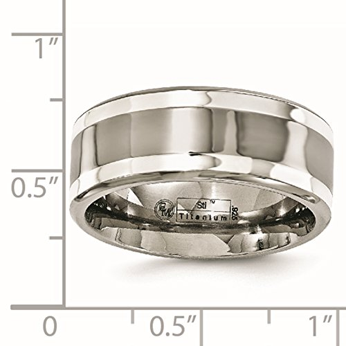 Titanium w/Sterling Silver Inlay Polished 9mm Wedding Ring Band Size 12 by Edward Mirell by Venture Edward Mirell Titanium Bands (Image #5)