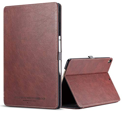 iPad Pro 12.9 Inch Case 2018 with Apple Pencil Holder,Premium Leather Slim Lightweight Shockproof Magnetic Notebook Case [Auto Sleep/Wake Multi Angle Stand/Support 2nd Gen ipad Pencil Charging]-Brown