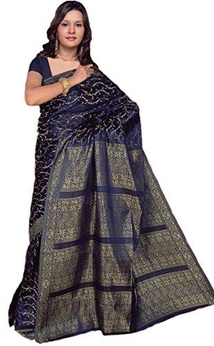 Indiano Sari Bollywood CA111, colore blu scuro