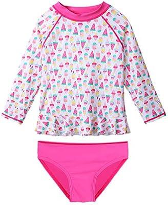 Rash Guard Bikini Swimsuit Set Best for All Little Girls Two Piece Long Sleeve UPF 50