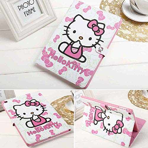 New iPad 9.7 Case 2017 2018 iPad 5th 6th Generation A1822 A1823 A1893 A1954, Hello Kitty Pattern Folio Style PU Leather Hard PC Case Smart Cover Also Fit iPad Air 2 / Air 1 (New iPad 9.7)