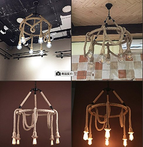 HAIXIANG 6 Light Hemp Rope Pendant Lamp Vintage Industrial Pendant Lamp Retro Edison Nautical Manila Rope Ceiling Light Fixtures by HAIXIANG (Image #8)