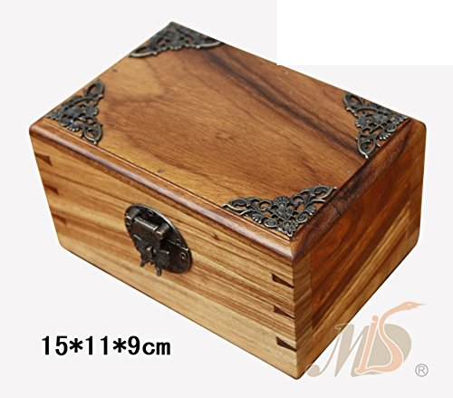 with a copper angle box jewelry box Dongyang woodcarving wood jewelry box-A