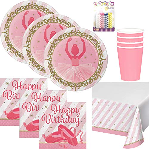 Ballerina Party Supplies Pack Serves 16: Dinner Plates, Luncheon Napkins, Cups, Table Cover and Birthday -