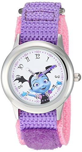 Disney Girl's 'Vampirina' Quartz Stainless Steel and Nylon Casual Watch, Color:Purple (Model: WDS000421)