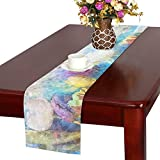 Flower Color Floral Watercolor Art Tulip Nature Table Runner, Kitchen Dining Table Runner 16 X 72 Inch For Dinner Parties, Events, Decor