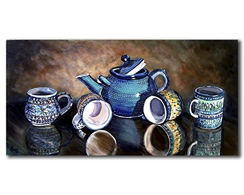 Polish Pottery Teapot Still Life Gallery Wall Art Print, Primitive Rustic Kitchen Decor size mat options