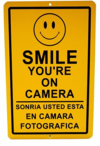 1 Pc Fiduciary Unique Smile You're on Camera Signs Surveillance Being Watched Fence Property Decor Home Premises Hour Yard Under Cameras Protected Neighbor Warning Doors Hanger Size 7'x11' Spanish