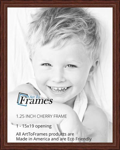 ArtToFrames 15x19 inch Cherry stain on Solid Red Oak Wood Picture Frame, 2WOM0066-59504-YCHY-15x19