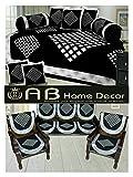 Ab Home Decor Combo of Diamond Design Diwan Set and Sofa Cover Sets, Black