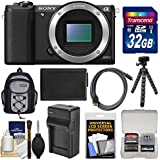Sony Alpha A5100 Wi-Fi Digital Camera Body (Black) with 32GB Card + Backpack + Battery & Charger + Tripod + Kit
