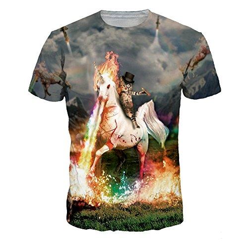 Horse Print Shirt - Azuki White Horse Spray fire Print Crewneck Short Sleeve T-Shirts XL