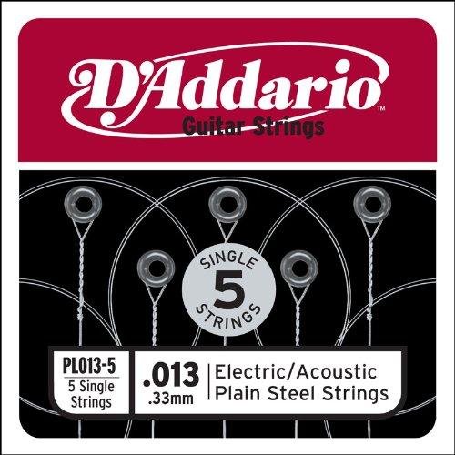 D'Addario PL013-5 Plain Steel Guitar Single String, .013 5-pack