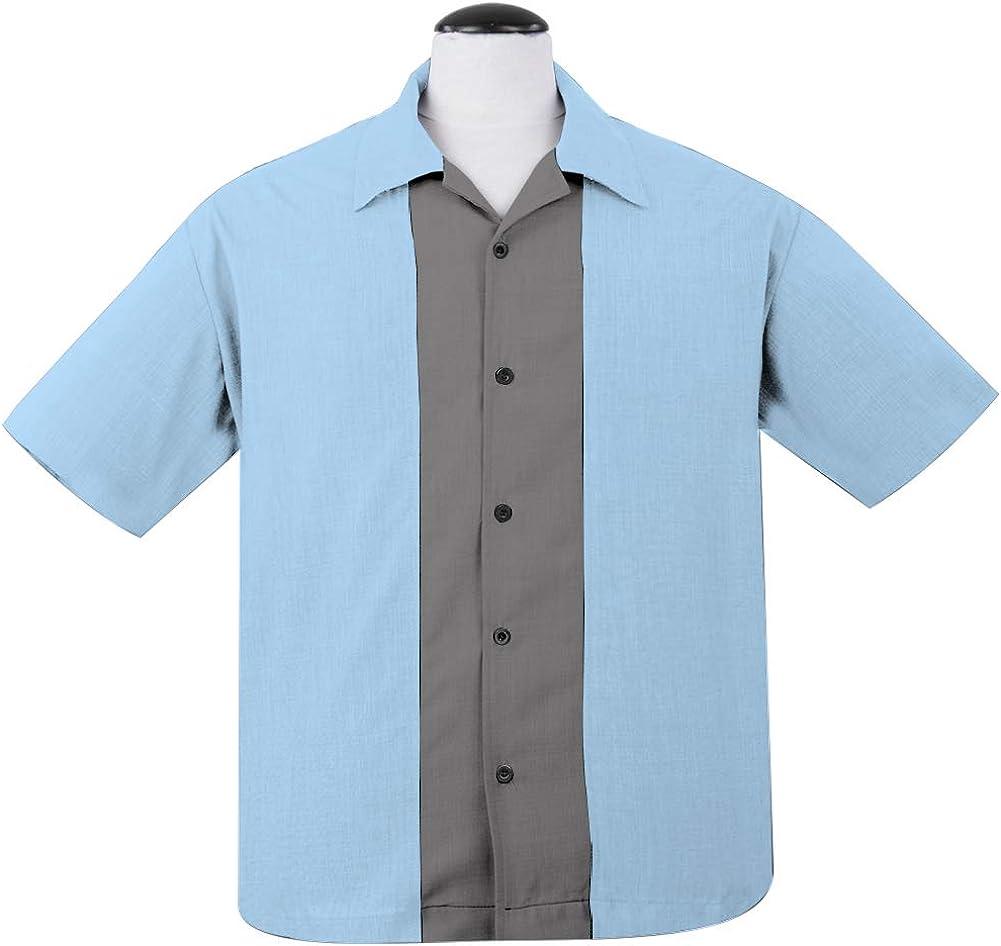 Retro Rockabilly Bowling Mens Shirts Short Sleeve Cotton Clothing L XL 2XL