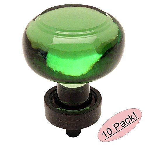 - 10 Pack - Cosmas 6355ORB-EM Oil Rubbed Bronze Cabinet Hardware Round Knob with Emerald Green Glass - 1-3/8