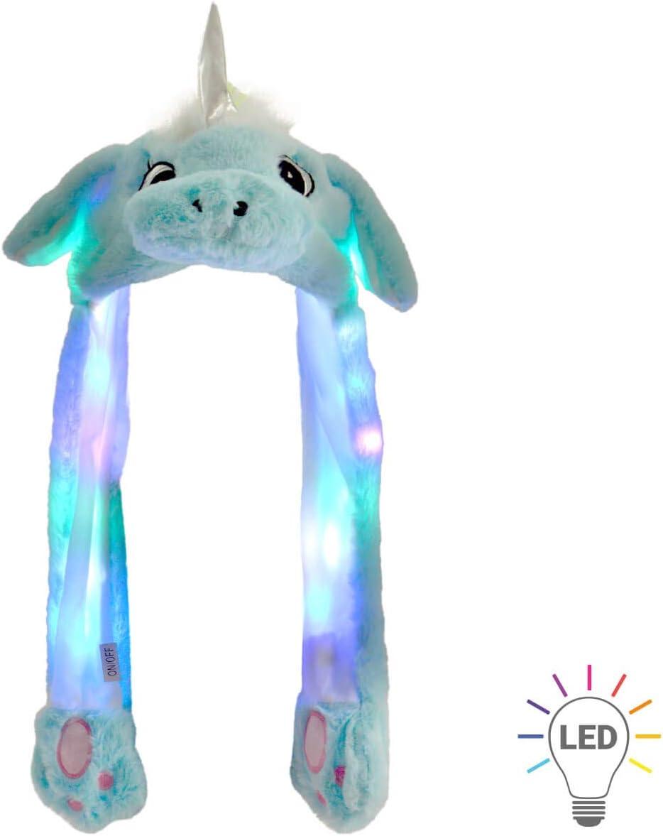 Gorro de Unicornio con Orejas Que se mueven Azul con Luz LED Animales de Peluche Capucha con Orejas Móviles Tamaño Único para Niños y Adultos Accesorio Carnaval Fiesta