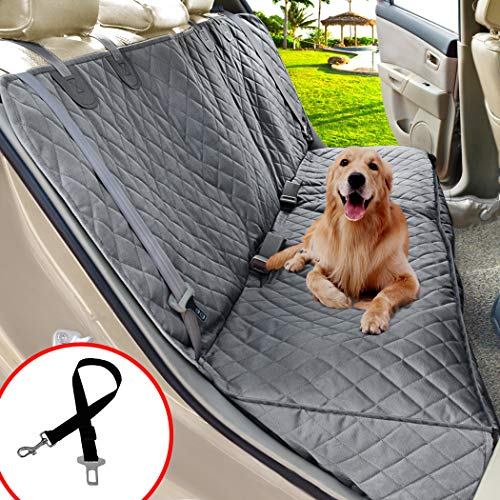 Henkelion Dog Seat Cover for Back Seat, Dog Car Seat Covers for Dogs Pets, Car Hammock for Dogs, Bench Rear Seat Cover for Dogs, Waterproof Protective Dog Seat Covers for Cars SUV Trucks - Grey ()