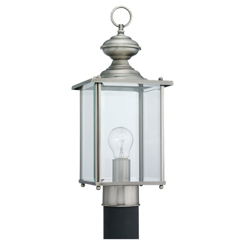 Sea Gull Lighting 8257-965 Single-Light Jamestowne Post Lantern with Clear Beveled Glass, Antique Brushed Nickel