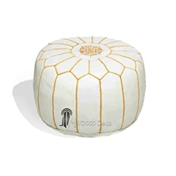 Medina Souvenirs White And Gold Leather Pouffe Moroccan Design Fascinating White And Gold Pouf