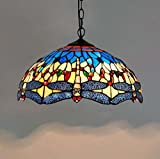 Creative Tiffany Style Hanging Lights Stained Glass Blue And Yellow Dragonfly Lighting Ceiling Fixtures Bar Restaurant Glass Ceiling Lamp 110-240V